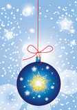 Blue christmas globe in sparkling snow Stock Image