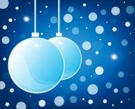 Blue christmas glossy balls on blue background Stock Image