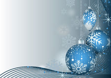 Blue Christmas Greeting with Baubles Stock Images