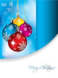 Blue christmas greeting card. Design with decorations Royalty Free Stock Photos
