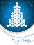 Blue christmas greeting card design with hexagon tree Royalty Free Stock Images