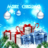 Blue Christmas greeting card Royalty Free Stock Images