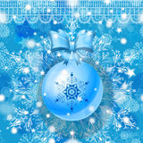 Blue Christmas greeting card with hanging glass ball. Ribbon and snowflakes. Eps10 stock illustration