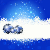 Blue Christmas greeting card. Christmas illustration with colorful blue balls and snowflakes. Christmas Greeting Card. Bright winter background with beautiful stock illustration