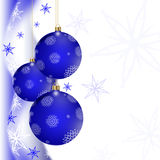 Blue Christmas greeting card. Christmas illustration with colorful blue balls and snowflakes. Christmas Greeting Card 2015.Bright winter background with Royalty Free Stock Image