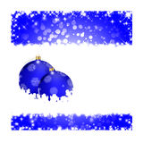 Blue Christmas greeting card. Christmas illustration with colorful blue balls and snowflakes. Christmas Greeting Card 2015.Bright winter background with Stock Photos
