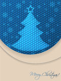 Blue christmas greeting card with scribbled tree and hexagon bac Royalty Free Stock Image