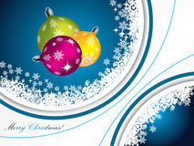 Blue christmas greeting with decorations Stock Images