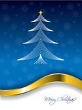 Blue christmas greeting with line tree design Royalty Free Stock Images