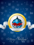 Blue christmas greeting with ribbon design Royalty Free Stock Images