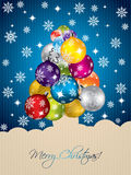 Blue christmas greeting with tree shaped decorations Stock Image