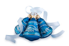 Blue Christmas hand bells Royalty Free Stock Photo