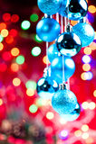 Blue Christmas hanging baubles Royalty Free Stock Photos