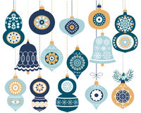 Blue Christmas hanging ornaments Royalty Free Stock Photos