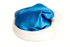 Blue Christmas hat. Isolated on white background Stock Images