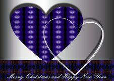 Blue Christmas hearts. With sparkling lights and best wishes Stock Photos