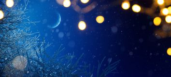 Art Blue Christmas; Holidays background with Xmas light decoration and snowy trees. Blue Christmas; Holidays background with Xmas light decoration and snowy stock photography
