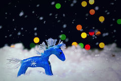 Blue christmas horse Stock Image