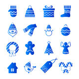Blue Christmas icons Royalty Free Stock Image
