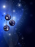 Blue christmas illustration with balls. Stars and snowflakes Stock Images