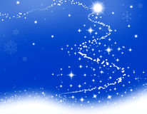 Blue Christmas. Christmas illustration - Blue Christmas.Wallpaper with a Christmas tree Stock Photos