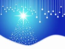 Blue Christmas. Christmas illustration - Blue Christmas.Wallpaper with a Christmas tree Stock Photo