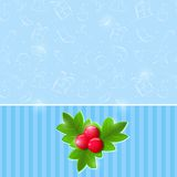 Blue Christmas Invitation Card with Green Leaf and Red Berries O Royalty Free Stock Photos