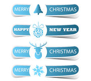 Blue Christmas label with a deer and snowflake. Vector illustration Stock Photography