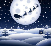 Blue Christmas landscape Royalty Free Stock Images