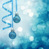 Blue christmas lights. Background with baubles royalty free stock photos