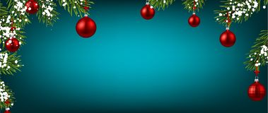 Blue Christmas and New Year background with red Christmas balls. Merry Christmas and Happy New Year banner with red Christmas balls and snow. Vector background stock illustration