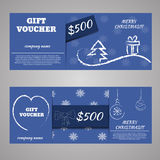 Blue christmas and new year gift voucher certificate coupon  Stock Photo
