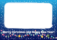 Blue Christmas and New Years frame Royalty Free Stock Photos
