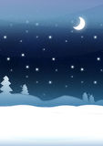 Blue Christmas Night. Illustration of winter landscape on blue with pine trees, snow, stars and moon Stock Photos