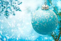 Blue Christmas ornament. With snow flakes stock photography