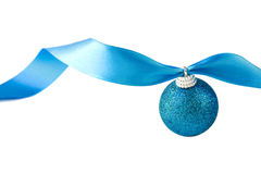 Blue Christmas ornament. Blue glitter Christmas ornament on ribbon stock images