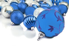 Blue christmas ornament baubles Royalty Free Stock Image