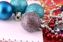 Blue christmas ornament with pearls Stock Photos