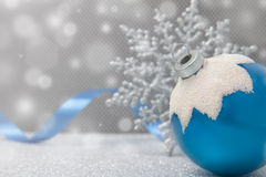 Blue Christmas ornament with ribbon Royalty Free Stock Image