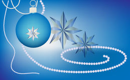 Blue Christmas ornament with stars and pearls. Blue Christmas ball with stars and pearls on a blue background Royalty Free Stock Photo