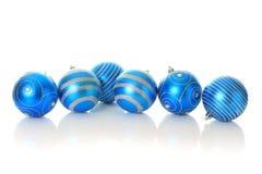 Blue Christmas ornaments. stock photo