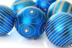 Blue Christmas ornaments Royalty Free Stock Image