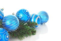 Blue Christmas ornaments. Isolated on white Stock Image