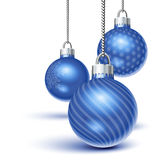 Blue christmas ornaments. Hanging over white Stock Photo