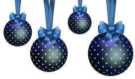 Blue Christmas Ornaments. The Christmas ornaments lights balls on the white background Stock Image