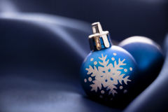 Blue Christmas ornaments Royalty Free Stock Photos