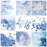 2016, blue christmas ornaments greeting card Royalty Free Stock Photos