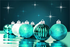 Blue christmas ornaments with star background Stock Photos