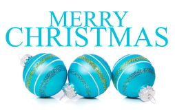 Blue Christmas Ornaments on white background with Stock Image
