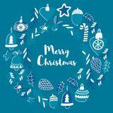 Blue christmas pattern with christmas bells, snowflakes, candy Holly jolly Merry Christmas and Happy New Year. Blue christmas patterns with christmas bells Royalty Free Stock Photography